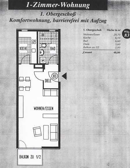 Großzügiges Ein-Zimmer-Appartement in absolut zentraler Lage in Höhenkirchen-Siegertsbrunn