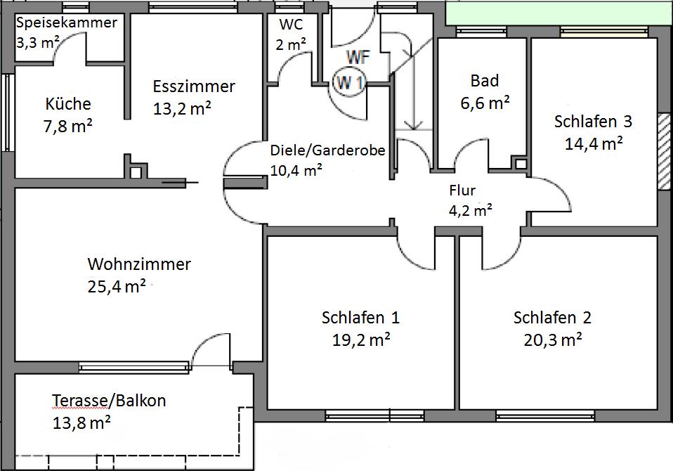 Renovierte 5-Zimmer-Hochparterre-Wohnung mit Balkon und EBK in Mindelstetten in Mindelstetten