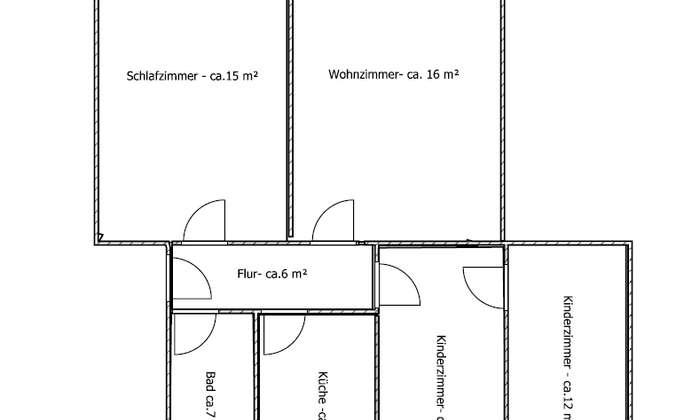 Grundriss-4 Raum, Whg. rechts