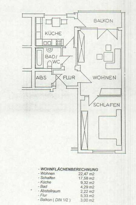 Wohnung mit zweieinhalb Zimmern sowie Balkon und Einbauküche in Erlangen/Bruck in Bruck (Erlangen)