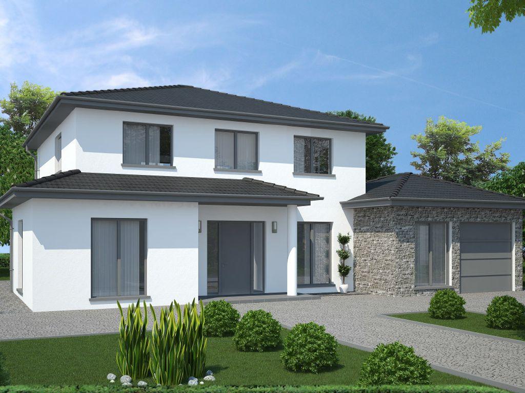Stadtvilla mit anbau und garage ch 540 for Stadtvilla flachdach