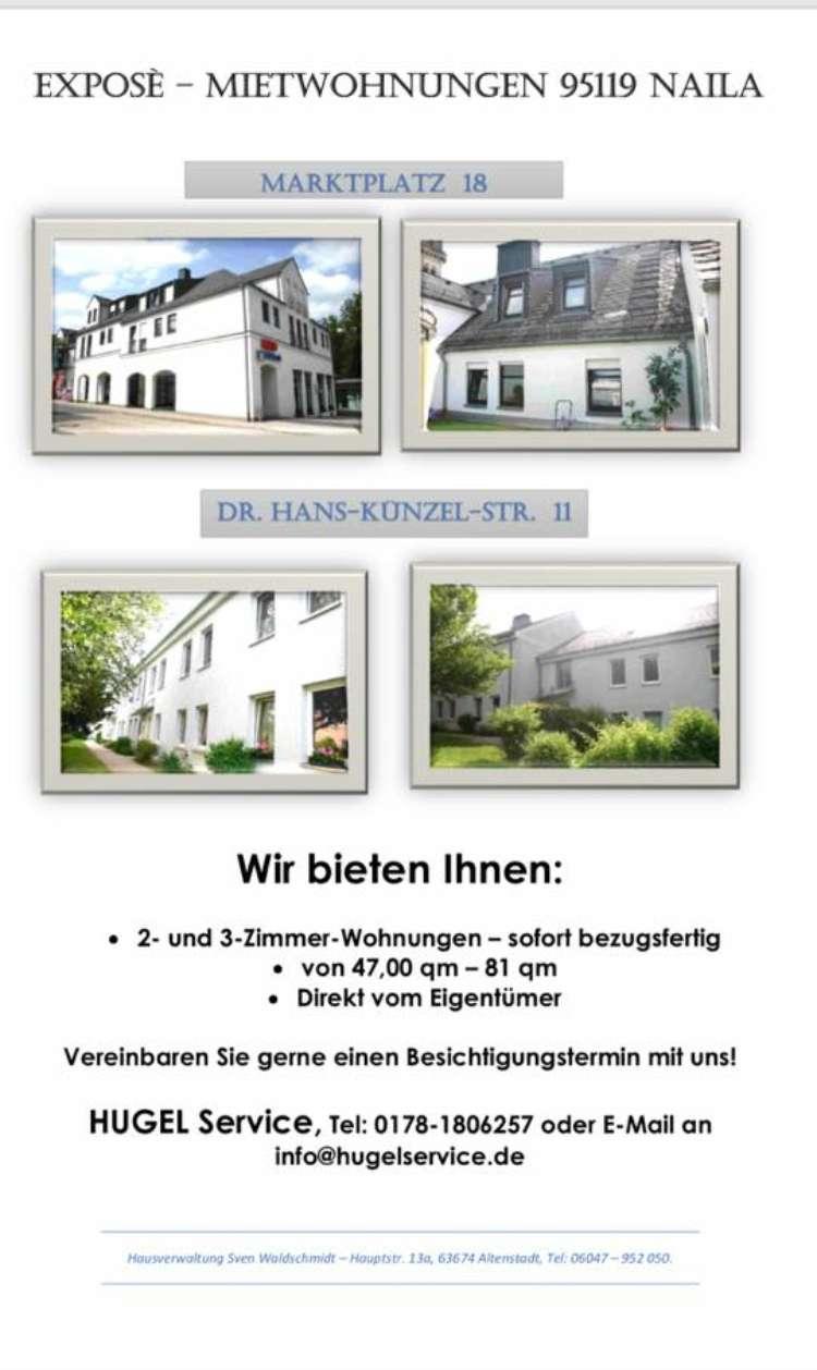 2-4 Zimmer Wohnungen in Naila direkt vom Eigentümer zu vermieten. in Naila