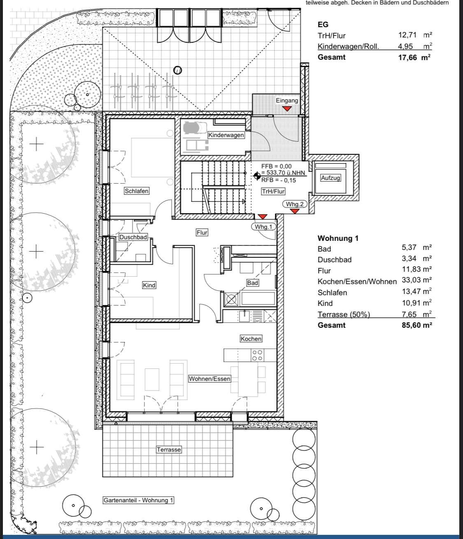 Neubau - Erstbezug: 3 Zimmer-Whg. mit Gartenterrasse, Gäste-WC und Fußbodenheizung in Laim (München)