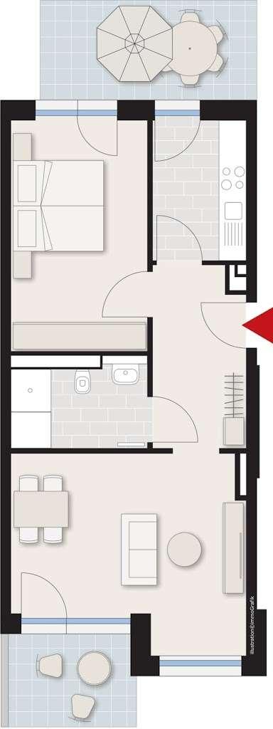 Schöne 2 Zimmer-Wohnung mit Terrasse und Balkon