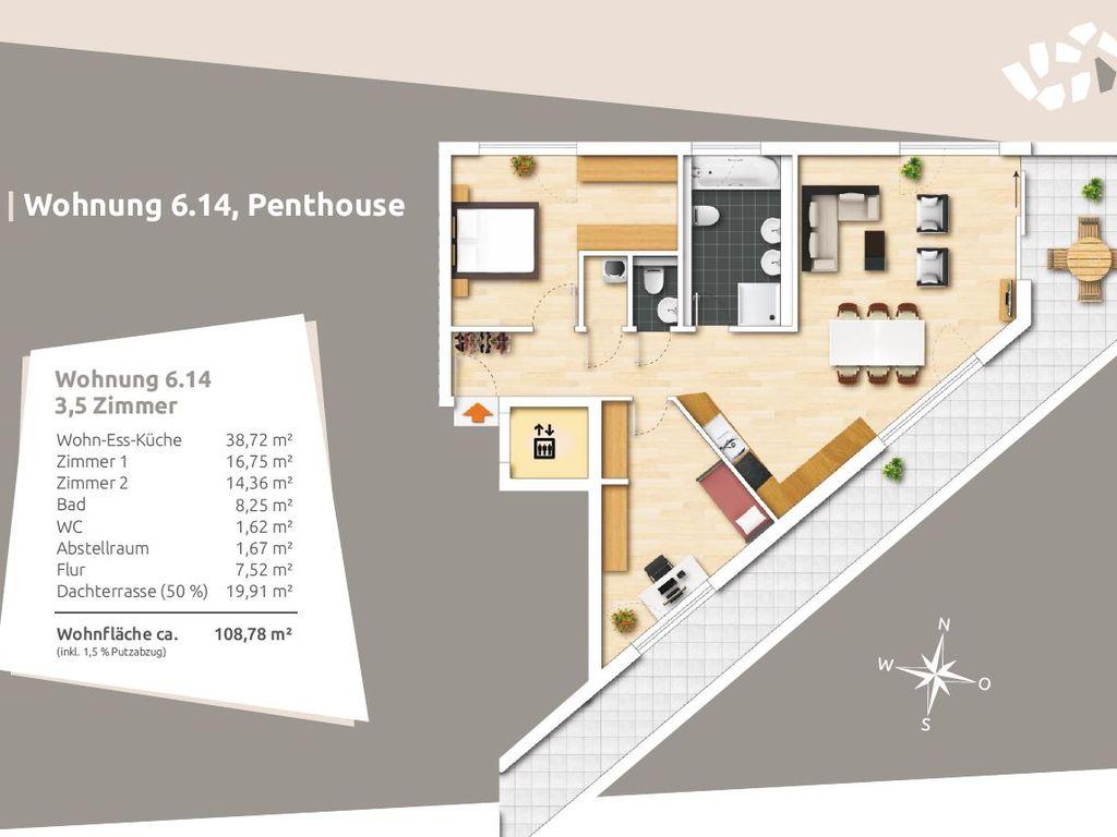 Grundriss ETW Nr. 14, Haus 6