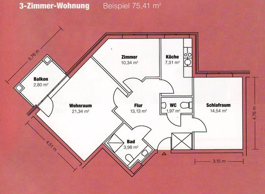 Grundriss 3-Zimmer-Wohnung