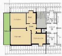 Gepflegte 2-Zimmer-Dachgeschosswohnung mit Balkon und