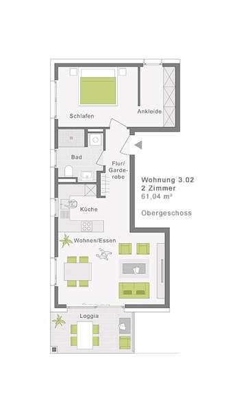 Großzügige 2-Zimmerwohnung mit Loggia