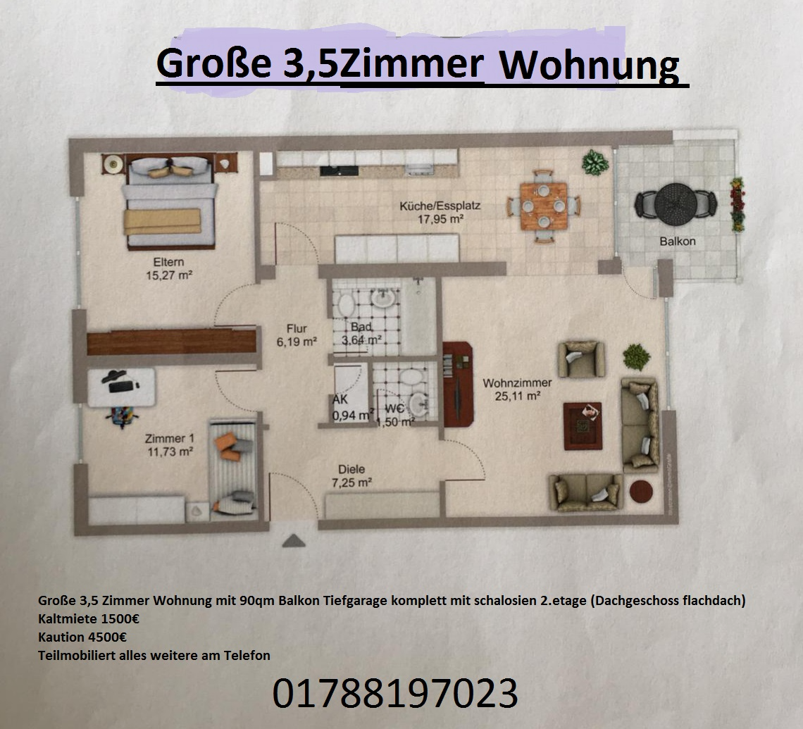 Schöne drei Zimmer Wohnung in München (Kreis), Ottobrunn