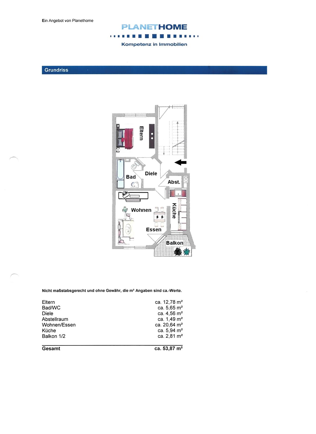 Freundliche 2-Zimmer-Erdgeschosswohnung mit Balkon und EBK in Aschaffenburg in