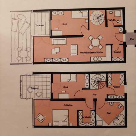 Erstbezug - wunderschöne 4-Zimmer-Maisonette-Wohnung mit Terrasse und Balkon in Nördlingen in Nördlingen