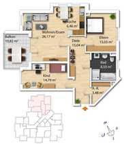helle geräumige 3-Zimmerwohnung mit großem