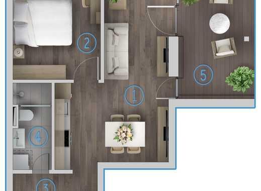 Exklusive Obergeschoss 2 Zimmer Wohnung