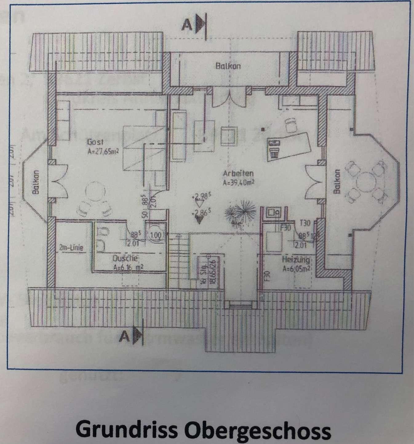 Grundriss Obergeschoss Bemaßun