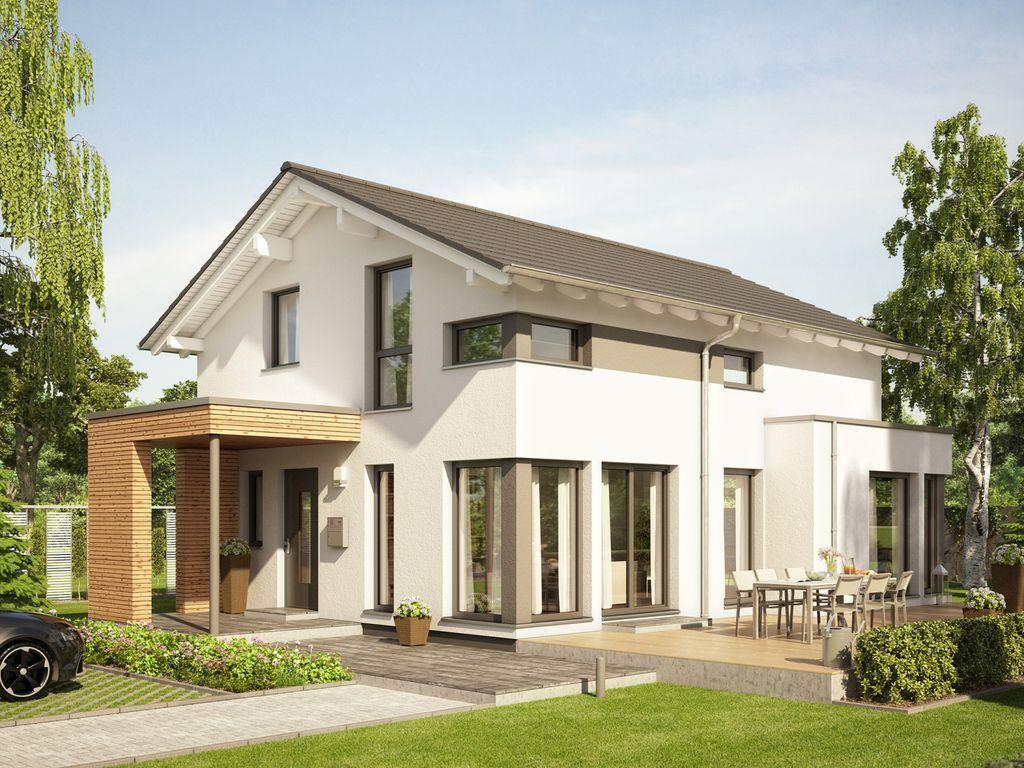 Eingangsüberdachung edition 1 v3 traumhaus mit übereck panoramaerker und design