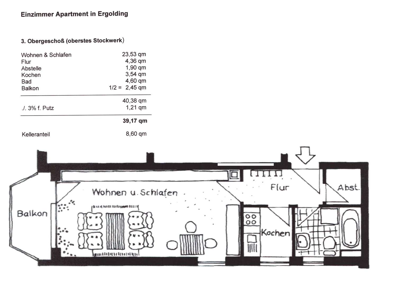 Schöne 1-Zimmer-Wohnung mit Balkon in Ergolding in