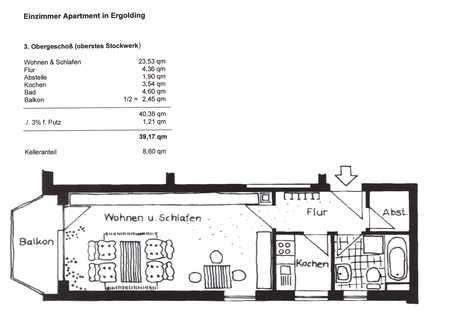 Schöne 1-Zimmer-Wohnung mit Balkon in Ergolding in Ergolding