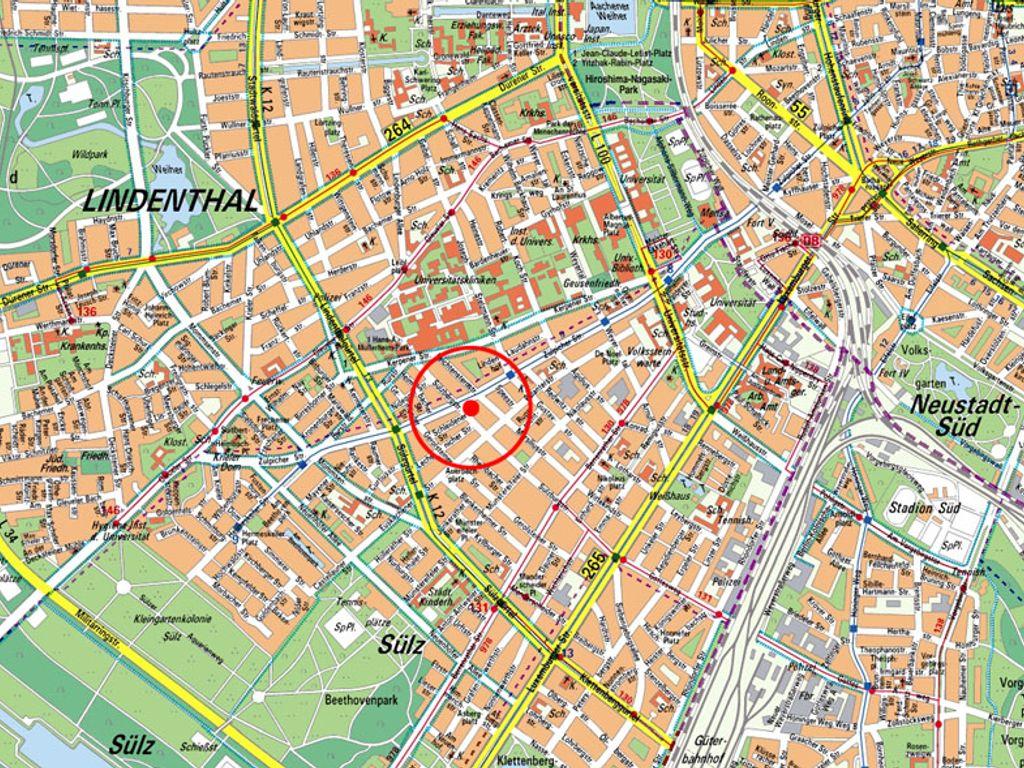 Stadtplan Sülz/Lindenthal