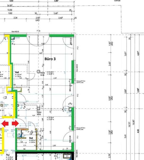 Grundriss 1. OG, Büro 3, 73 m³