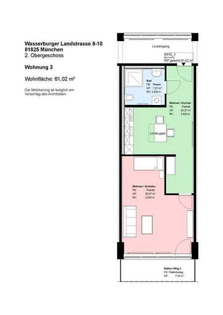 *Trudering*2 Zimmer*Einbauküche*möbliert*Duschbad*Balkon*Parkett*Abstellraum* in Trudering (München)