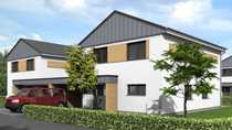 KfW-55-Einfamilienhaus 3 mit Carport Trespa-Wood-Decor