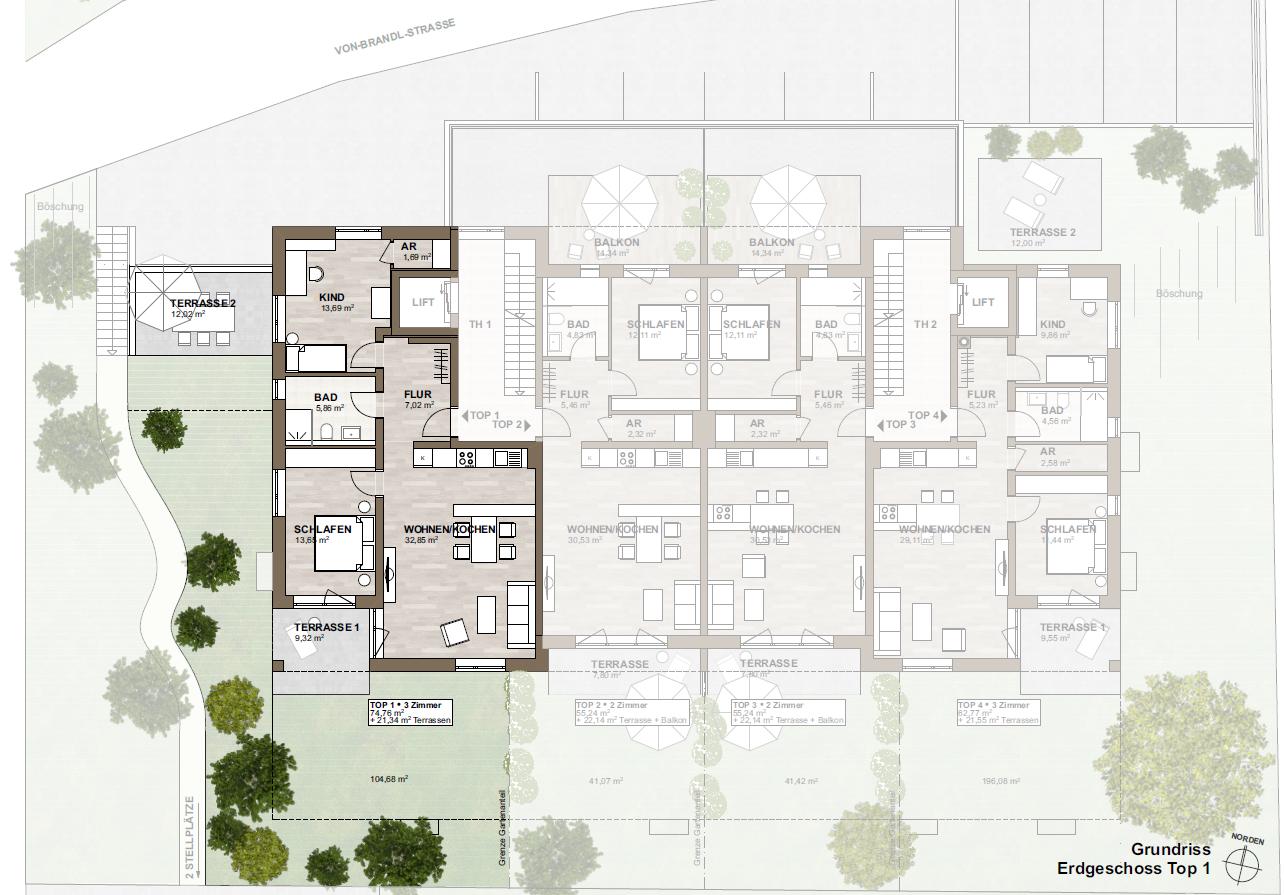 Neubau - zwei Südterrassen - zentrumsnah - ruhige Lage