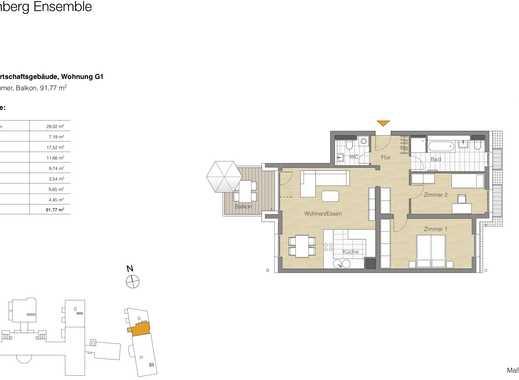 3 Zi.-Whg., Balkon, Lage im Neubau 1.OG