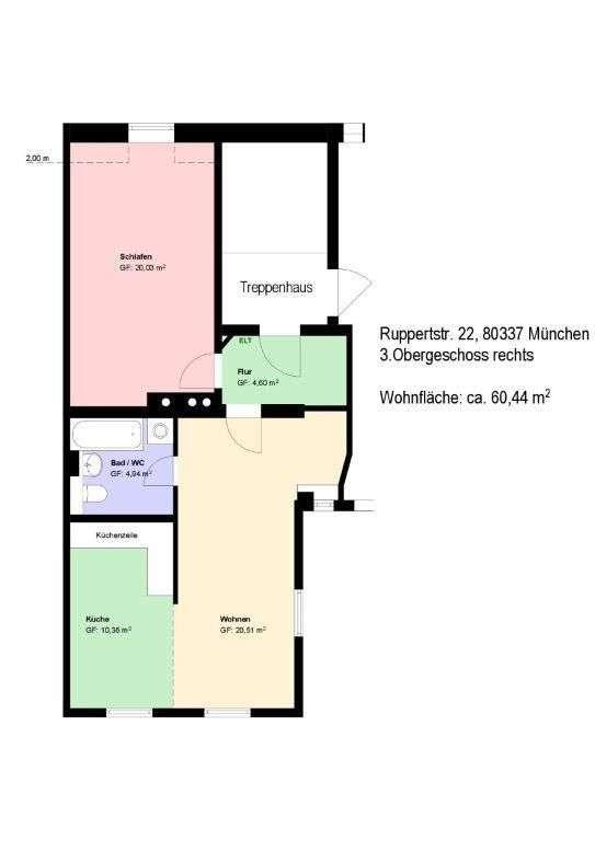 *Isarvorstadt*2-Zimmer*EBK* Bad mit Badewanne*möbliert*Parkett*Keller* in Ludwigsvorstadt-Isarvorstadt (München)