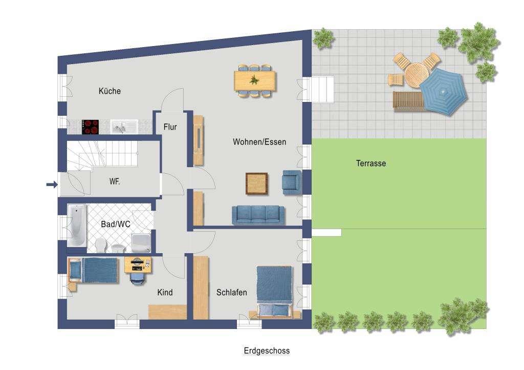 Attraktive 3-Zimmer-Wohnung in kernsaniertem Rückgebäude mit zukünftiger Terrasse und Gartenanteil  in