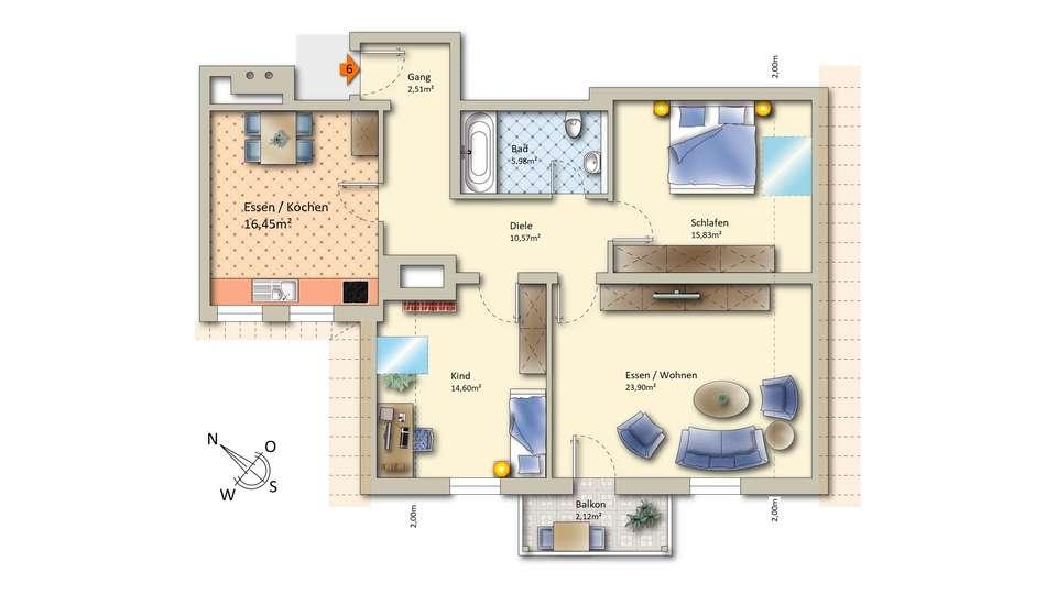Wohnung 6 im Dachgeschoss