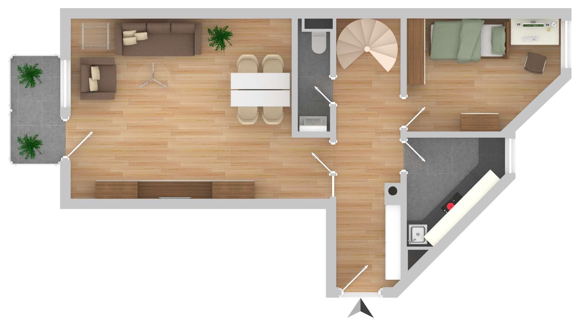 Schöne 3,5-Zimmer Maisonette-Wohnung in Erding-Klettham in Erding