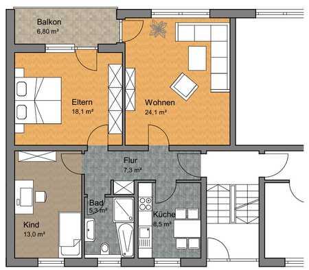 Frisch renovierte 3-Zimmer-Wohnung mit Balkon in Ergolding in Ergolding