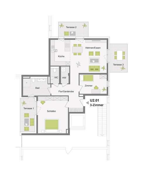 3-Zimmerwohnung mit ca. 350 m² Gartenfläche
