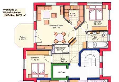 """70 m2 3 Zimmer Neubauwohnung """"Um die Dräxlmaier Villa"""" nach KfW55 in Geisenhausen"""
