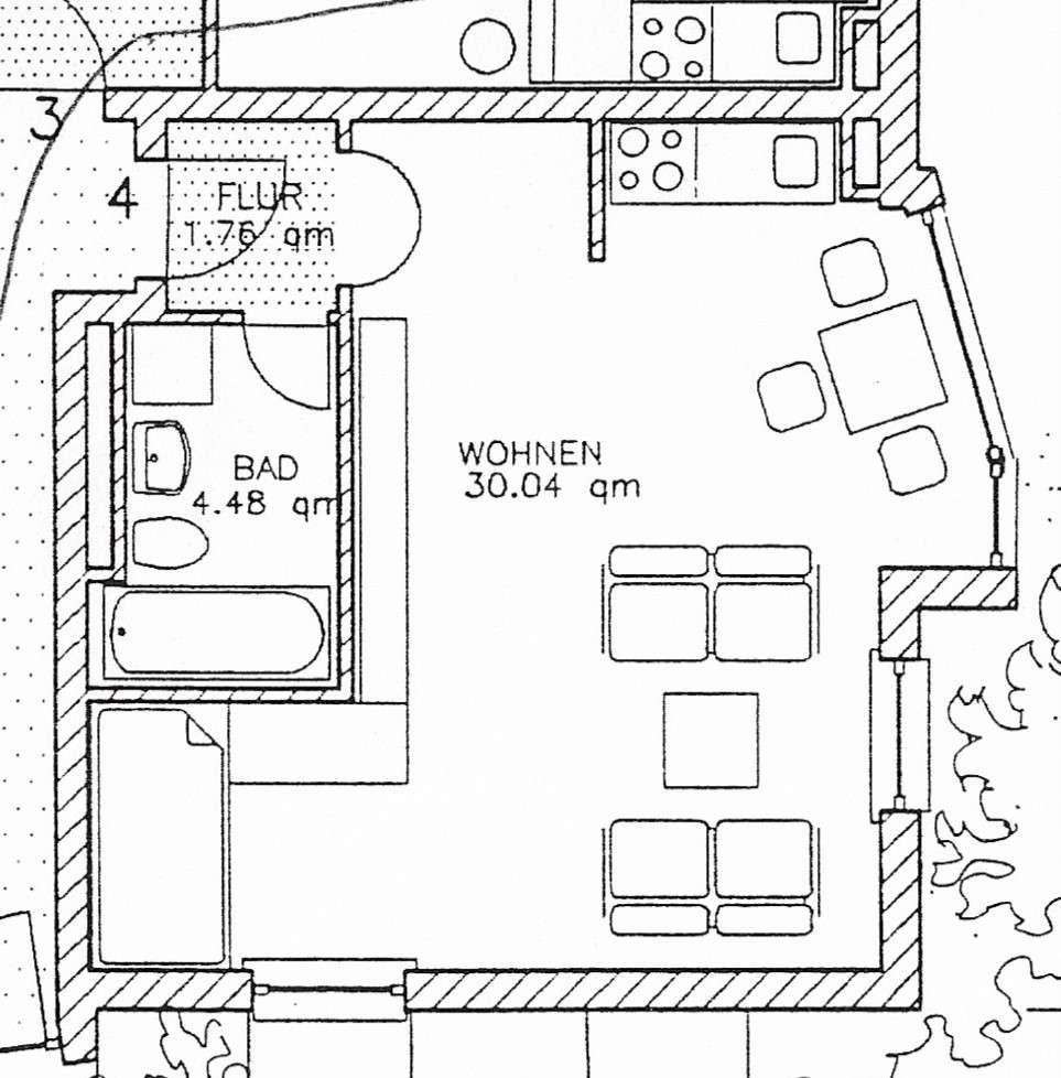 Gepflegte, lichtdurchflutete EG-Wohnung mit einem Zimmer und EBK in Roding in