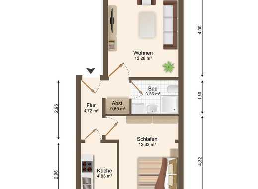 kleine 2-Raum-ETW mit Duschbad, Balkon, Laminat und Einbauküche