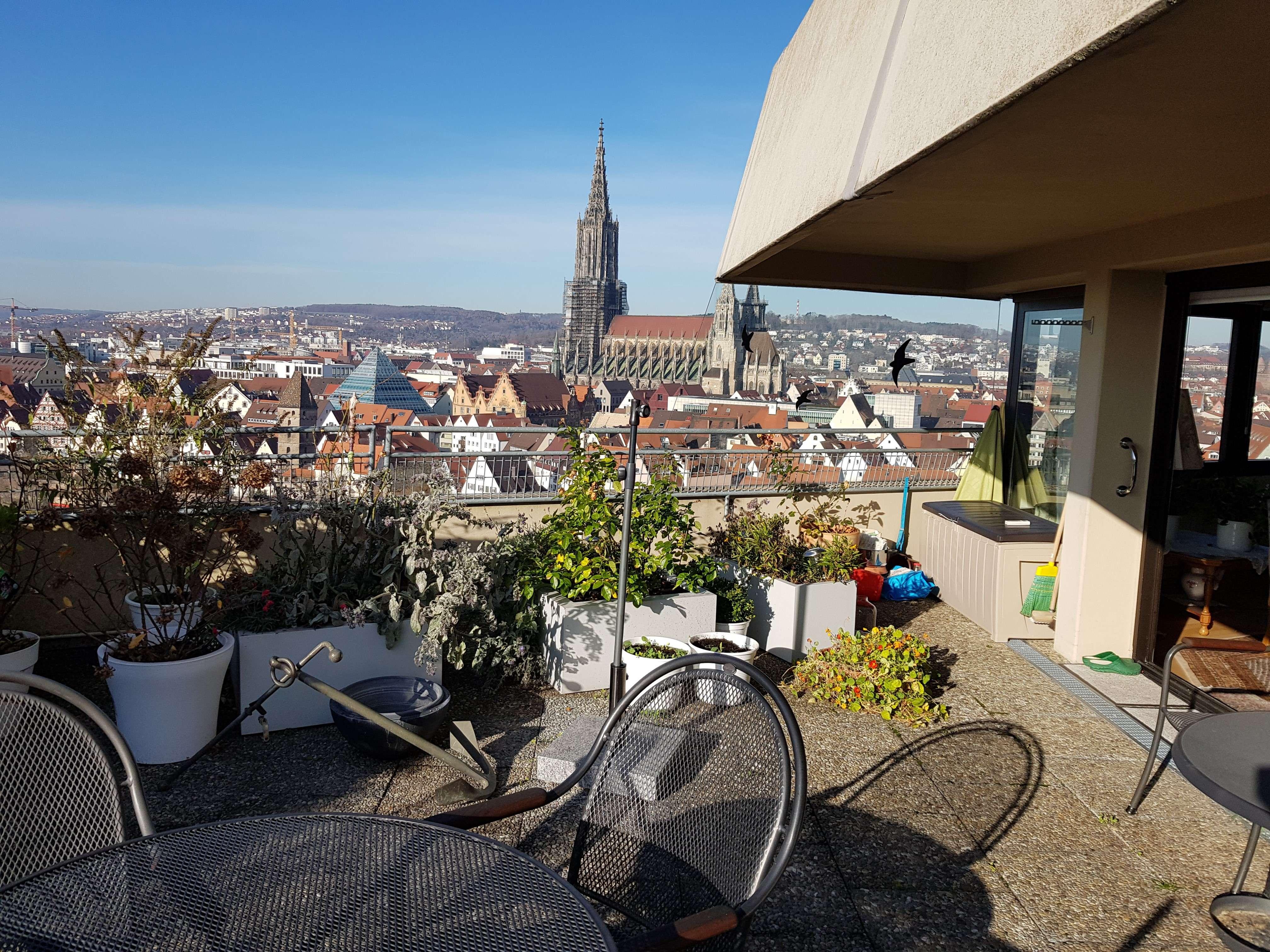 3 Zimmer Wohnung mit großer Terrasse und Ulmer Münster- / Donaublick in