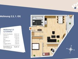 Grundriss ETW Nr. 3, Haus 2