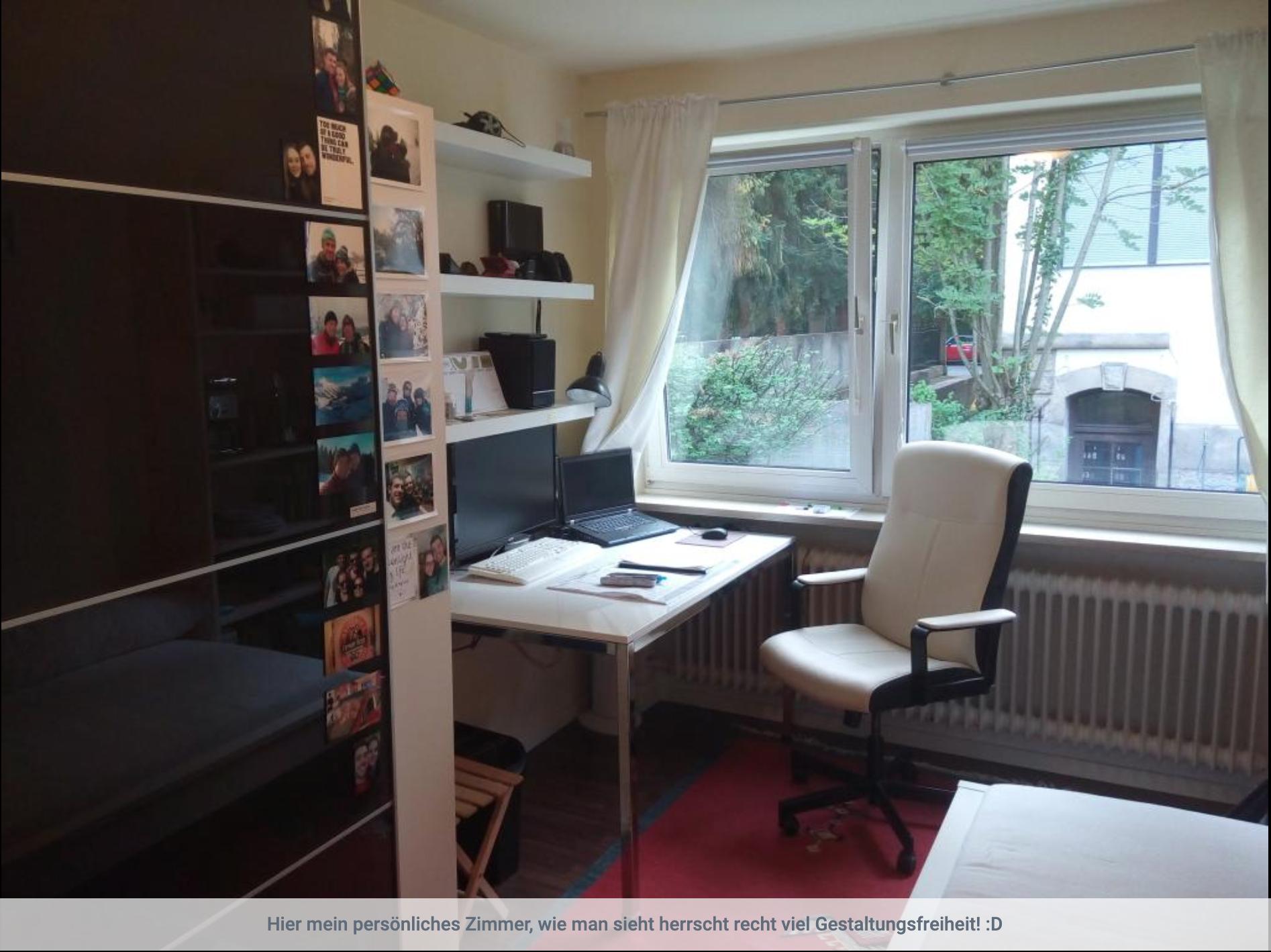 Möbliertes Zimmer in Studentenwohnheim, zentrale Lage, direkt am Park nahe der Isar in