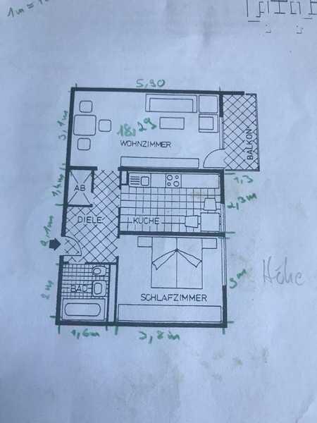Stilvolle, modernisierte 2-Zimmer-Wohnung mit Balkon in Neuburg an der Donau in Neuburg an der Donau