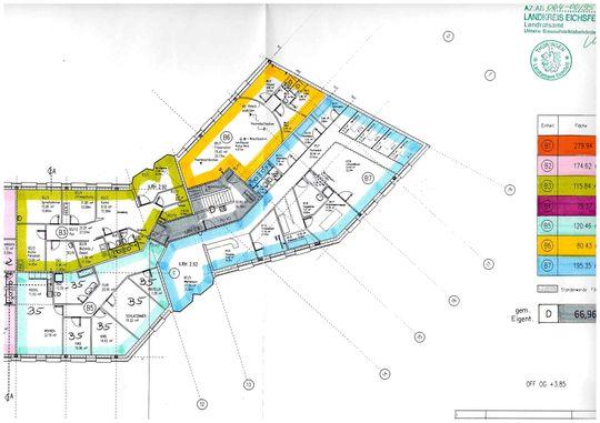 Grundriss 1.OG Büro B3, B5 und