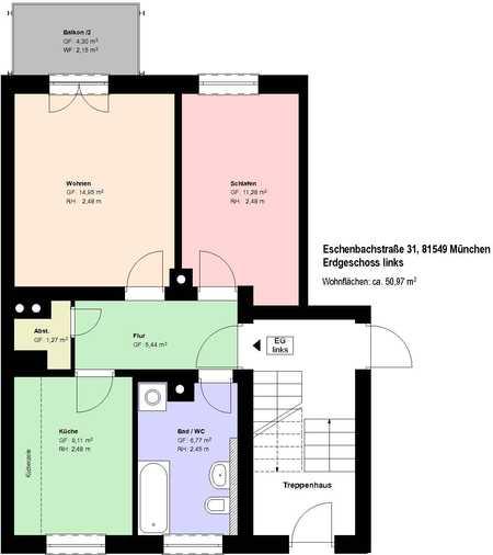 * Giesing * möblierte 2 Zimmerwohnung mit Balkon * Küche mit EBK * Wannenbad *  Kellerabteil * in Obergiesing (München)