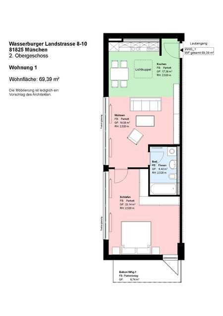 *Trudering* 1 Zimmer-Wohnung *große Wohnküche mit EBK*möbliert*Bad mit Wanne*Balkon*Speicher*Parkett in Trudering (München)