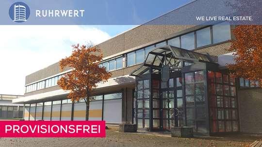 Haupteingang von 4.000 m²-Hallenfläche im Gewerbegebiet Duisburg-Bergheim!