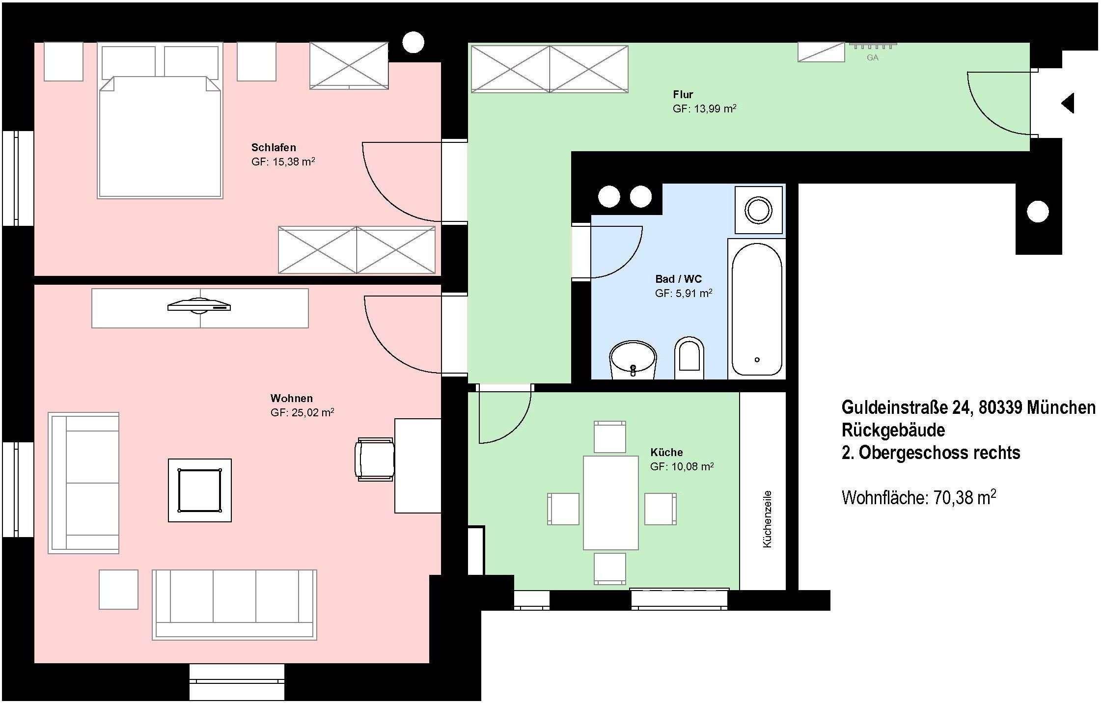 *Schwanthalerhöhe*schöne 2 Zimmer-Wohnung*möbliert*Küche mit EBK*Bad mit Wanne* in Schwanthalerhöhe (München)