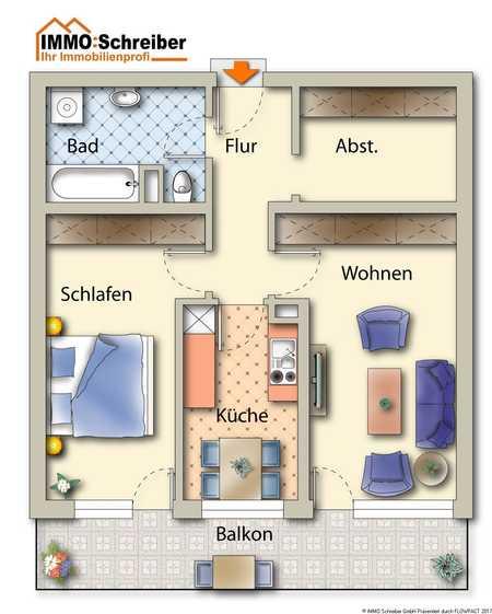 Ruhig gelegene 2-Zi-Whg mit Südbalkon und Abstellraum in Deggendorf