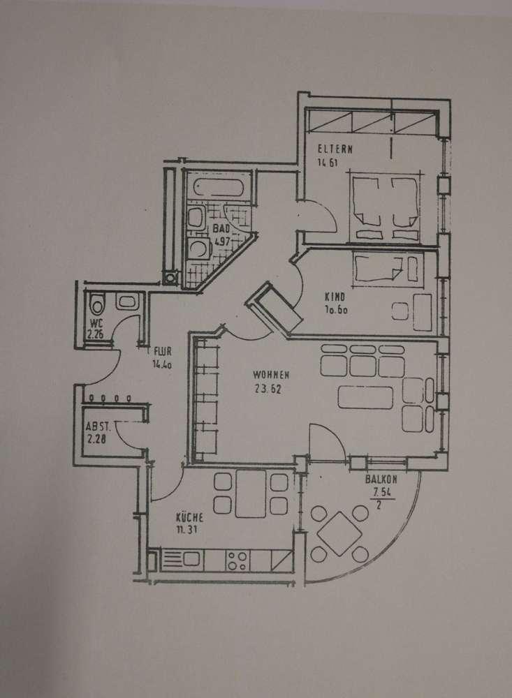 1 a Helle 3 Zimmer Wohnung mit großer Balkon-Terrasse in