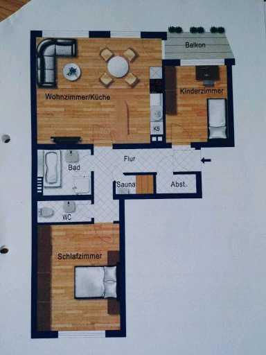 Sanierte 3-Raum-Wohnung mit Sauna, Ethanolkamin, Balkon und Einbauküche in München-Sendling-Westpark in Sendling-Westpark (München)