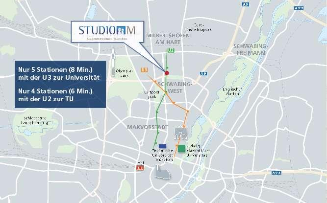 Studio M - Willkommen Studenten und Azubis, 1 Zimmer Wohnung mit Balkon in Milbertshofen (München)