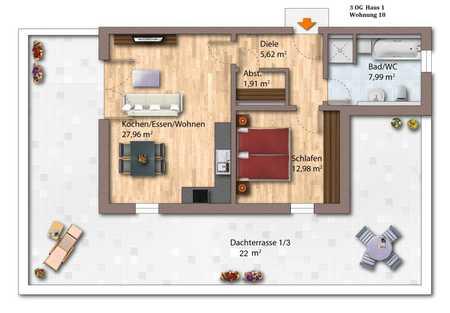 2-Zimmer Penthousewohnung  (KfW 40 plus) in Deggendorf